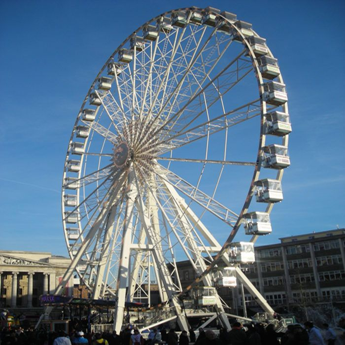 The New York Wheel was a proposed 630foottall 190 m giant Ferris wheel to be located at St George in Staten Island New York City It was to be located alongside