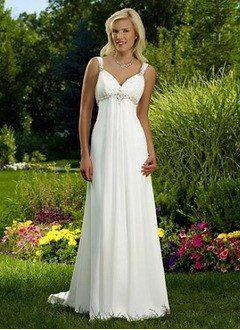 A-Line/Princess V-neck Court Train Chiffon Wedding Dress With Ruffle Beading - Alternative Measures