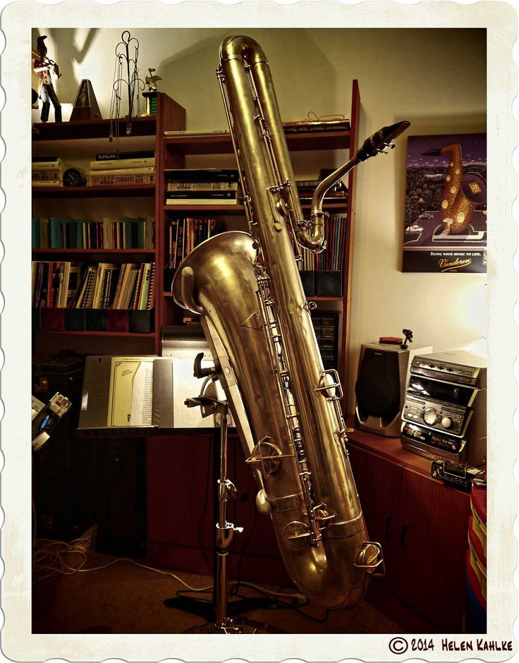 bass saxophone, Buescher bass sax, vintage sax, all about the bass, sax in sax stand, HDR photography