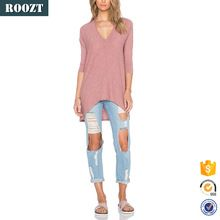 Hot sale tops summer cotton & bamboo fiber ladies v neck plain long sleeve t-shirt  Best buy follow this link http://shopingayo.space