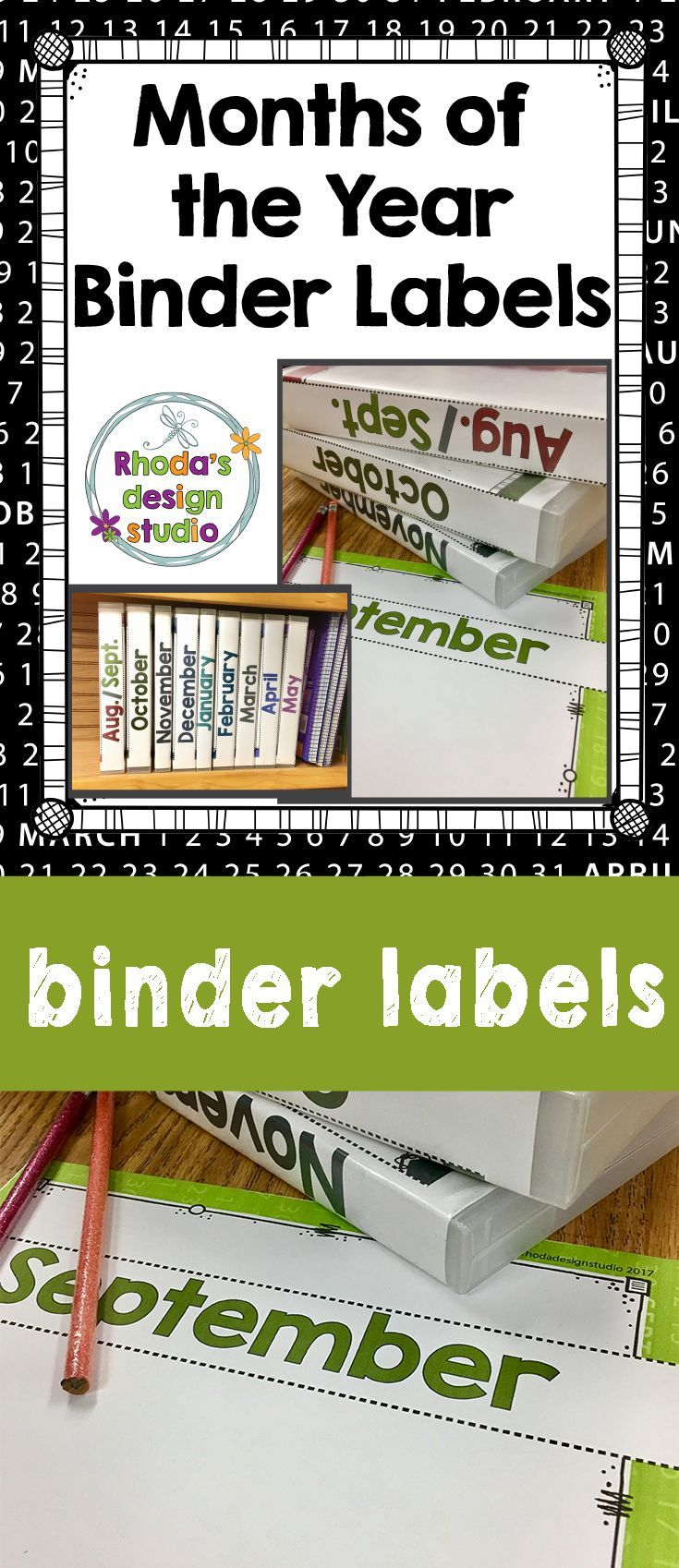 Organize your classroom with editable Months of the Year Binder Labels. They are designed to slip into the backs of binders with some of the label viewable on the front of the binder. Use the editable PowerPoint file to add the contents of the binder, ins