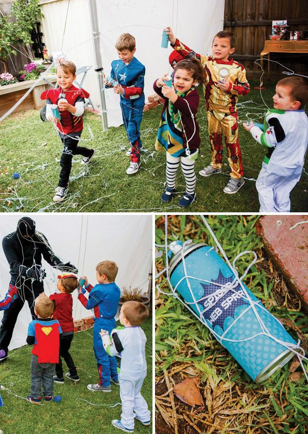 Avengers Inspired Superhero Birthday Bash: almost like laser tag but catch the villains with silly string