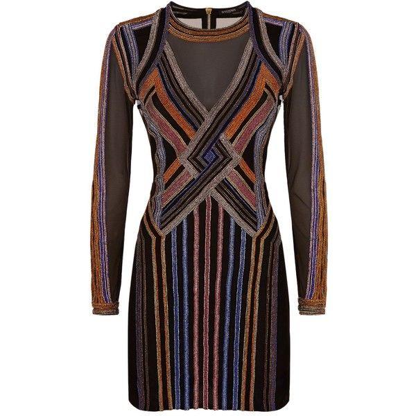 Balmain Embellished Geometric Mini Dress (€7.250) ❤ liked on Polyvore featuring dresses, colorful dresses, geo print dress, balmain, geometric print dress and multi color mini dress