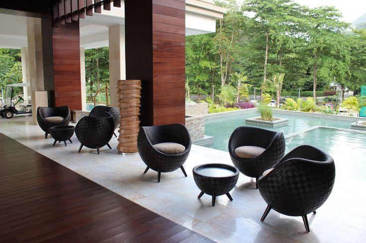 Reception in Hotel Savoy Resort & Spa 5* Mahe, Seychelles. KORAKOT AROMDEE DESIGN - Table lamp made of Seesuk bamboo. KENNETH COBONPUE - LA LUNA - Easy Armchair - Shell of rattan core and jute, chair, Occasional table & Ottoman. #KORAKOTAROMDEE #KENNETHCOBONPUE #Realized #Design #Project #Interior #Reception #Exotic #Furniture #Lighting #Architect and #Designer #Pavlovskaya #vashurkindesign.com