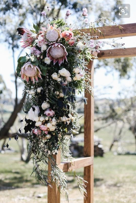 ARCH FLOWERS- I like the dusty rose colors to this. but definitely want the flowers to be on top part of the arch too.
