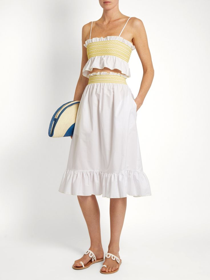 Smocked cotton skirt   Lisa Marie Fernandez   MATCHESFASHION.COM UK
