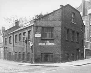 The Horse Hospital in Clerkenwell now an arts centre opened as sanctuary 4 sick horses of Hackney Cabs in 1797