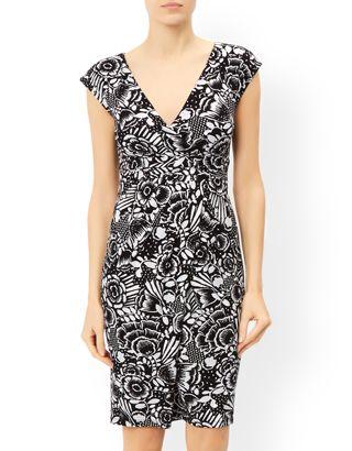 Sia Print Knee Length Dress | Black | Monsoon