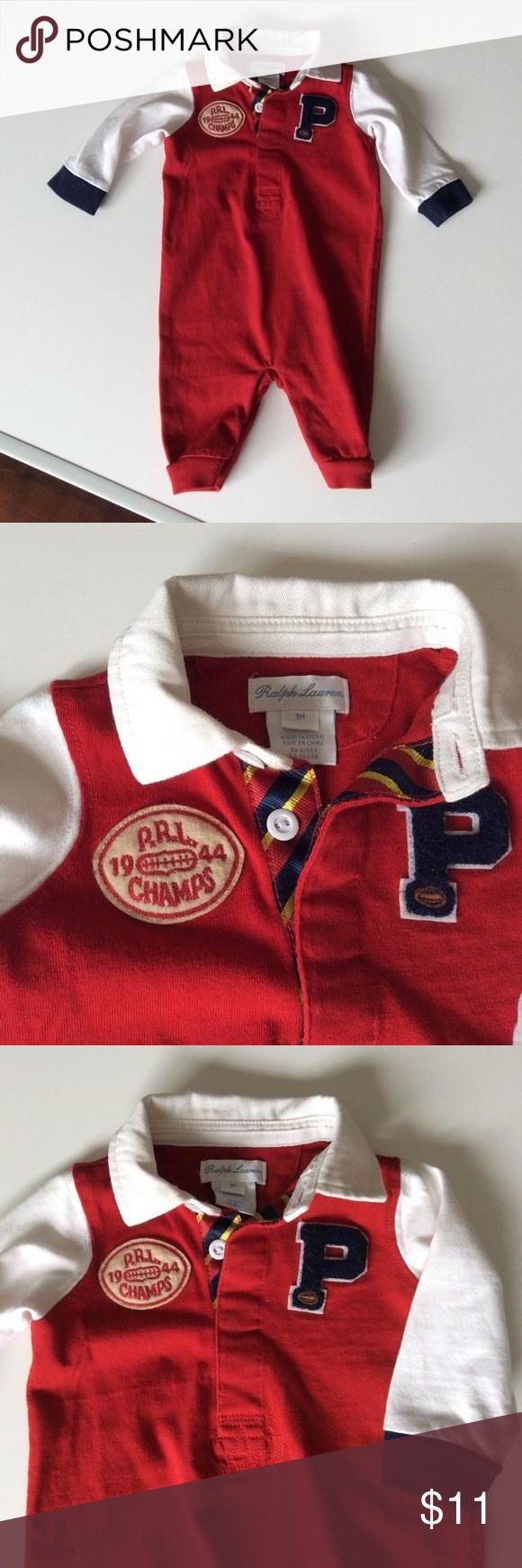 Ralph Lauren rugby outfit, size 3 mos Classic in every way, this bright and well made rugby onesie is perfect for fall and winter!  Size 3 mos Ralph Lauren Shirts & Tops