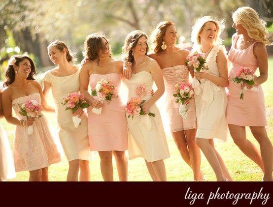 blush pink bridesmaids: Blushes Pink, Bridesmaid Difference Dresses, Blushes Bridesmaid Dresses, Pink Bridesmaid Dresses, Blush Bridesmaid Dresses, Bridesmaids Dresses, Pale Pink Bridesmaid, Pale Bridesmaid Dresses, Bridesmaid Color
