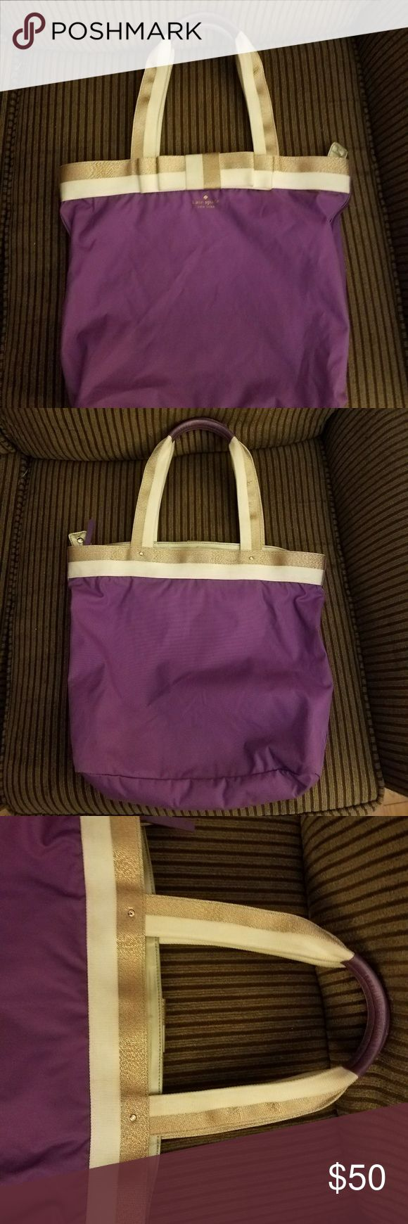Kate Spade Barrow Street Bon Shopper Purple tote bag with cute cream and gold trim and bow. Lined inside with Kate Spade logo on bottom. Some wear to handles and some light pen marks inside. Approx  13h x 12w. kate spade Bags Totes