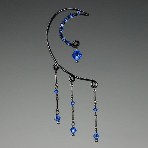 Sapphire Swarovski crystal ear wrap v2 No by YouniquelyChic