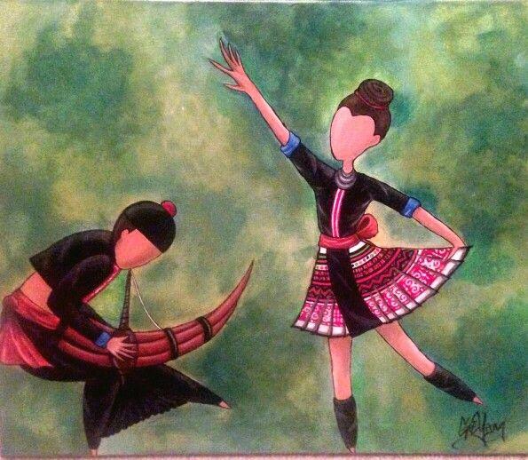 hmong dance, qeej, hmong green, hmong painting, hmong art ... Miao People Art