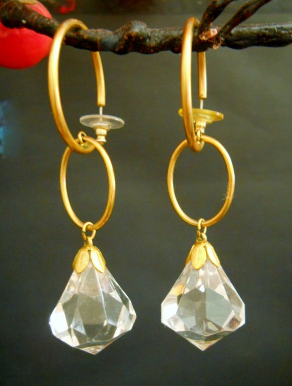 Vintage Lucite Crystal Earrings Cache Runway with by LakeBreezes, $22.00