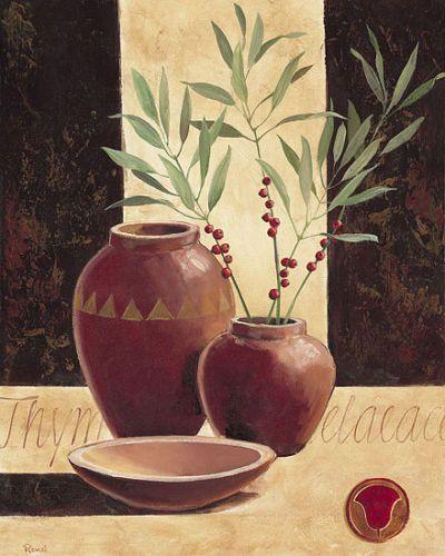 Renee-Thymelaea-in-red-vases-Stillleben-Fertig-Bild-40x50-Wandbild-Vasen