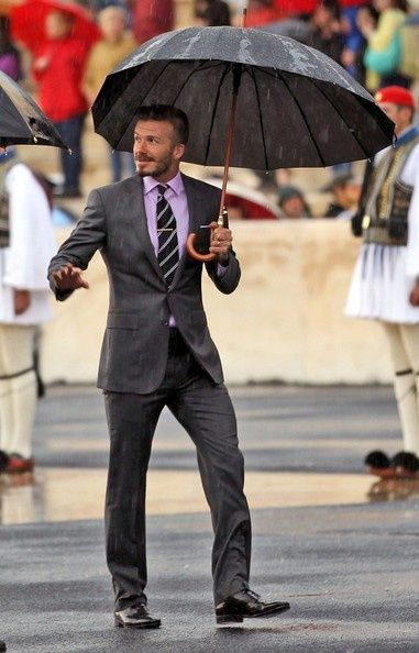 Styling in the rain.  Well done Becks
