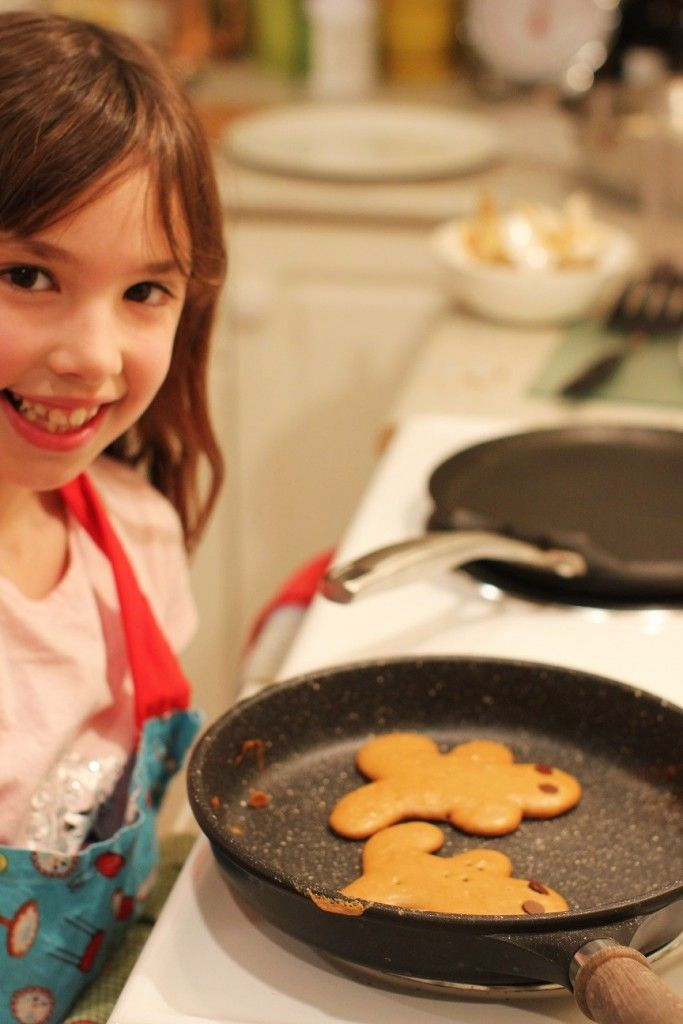 Cooking with Kids - Fun and delicious Gingerbread Pancakes, with sauteed apples and easy, 2-ingredient caramel sauce.