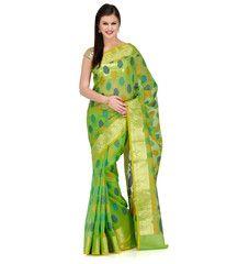 Green Faux Chanderi Saree | Fabroop USA | $60.99 |