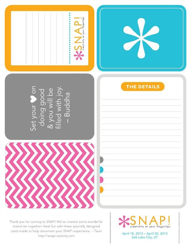 "Printable -- ""Snap"" Project Life Inspired Journaling and Quote Cards 2"