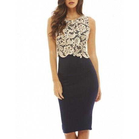 Granatowa ołówkowa sukienka midi z koronkowym beżowym topem