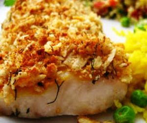 Oven baked crusted trout fillets.This fish recipe is very quick and easy to cook in turbo oven.Serve with peas and cooked rice.