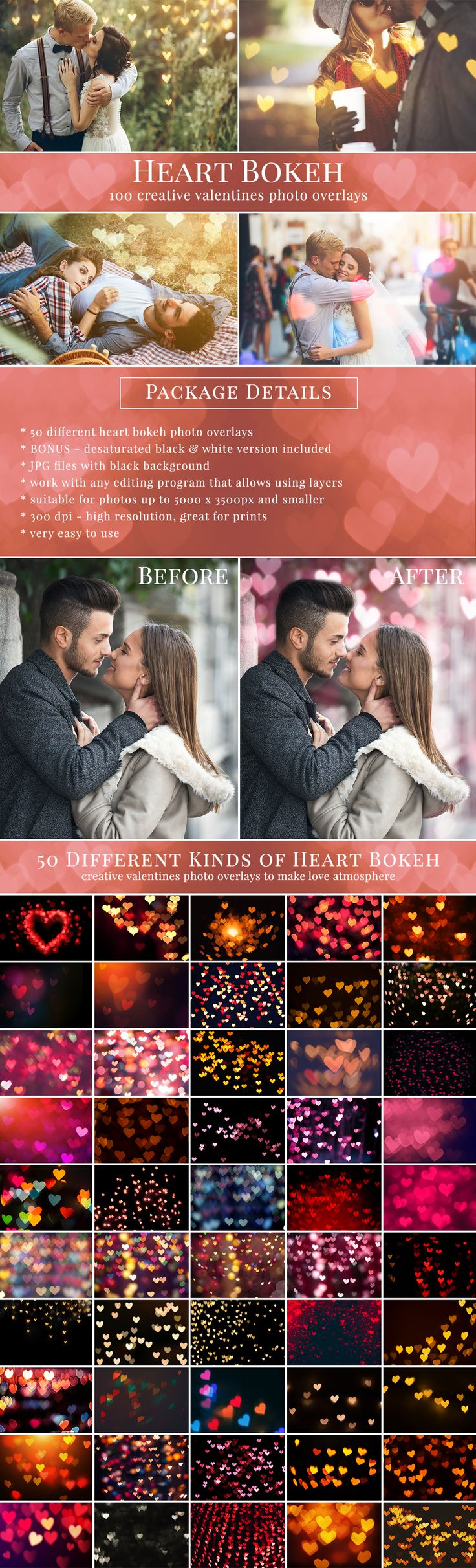Creative Heart Bokeh photo overlays, great for Valentine's Day pictures. Weddings, couples, date pictures & mini sessions. Photo overlays for Photographers. For Adobe Photoshop CC & CS, Gimp and Zoner. From Brown Leopard. Bonus - desaturated overlays.