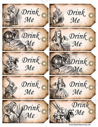 Template for mad hatter tea party baby shower shower for Alice in wonderland tags template