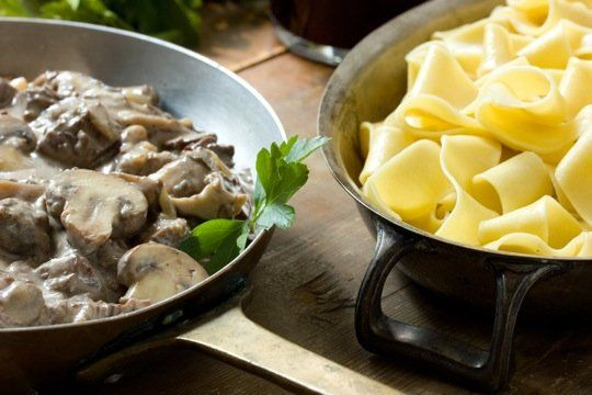 Braised Beef Stroganoff with Pappardelle