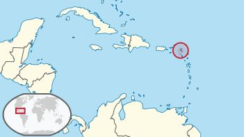 Location of the Collectivity of St Martin in the Leeward Islands.