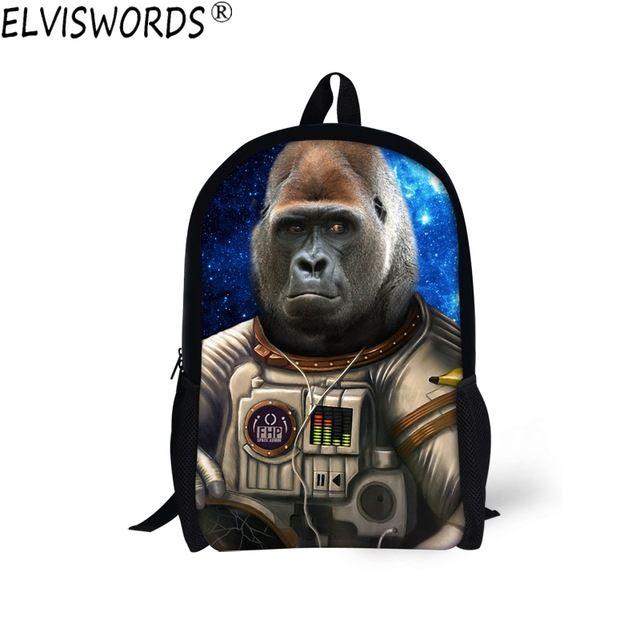ELVISWORDS 16 inch School Bag Galaxy Gorila Backpack for Teenage Girls Boys Cool School Backpacks Student Kid Rucksack Book Bags