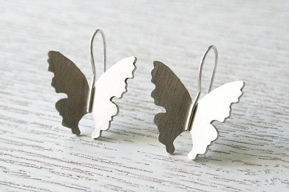 Butterfly Earrings. Silver Butterfly Hook Earrings by CaiSanni via Etsy.