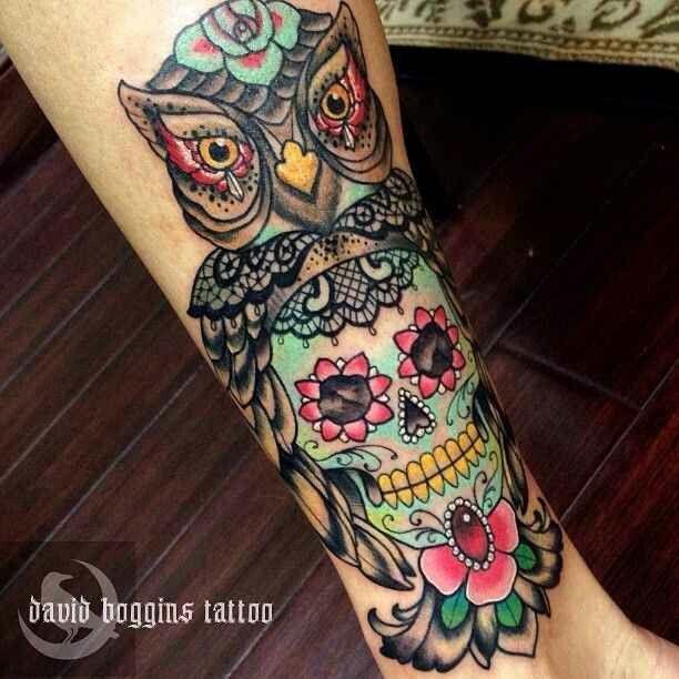 Sugar skull owl design