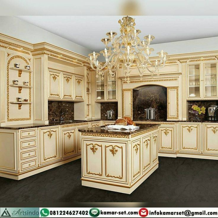 Kitchen set klasik Elegan warna krem Gold Ukiran Furniture Jepara Model Terbaru