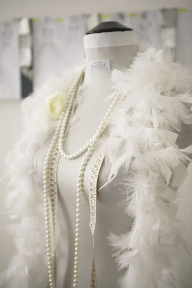 feather boa and pearl necklace #1920s