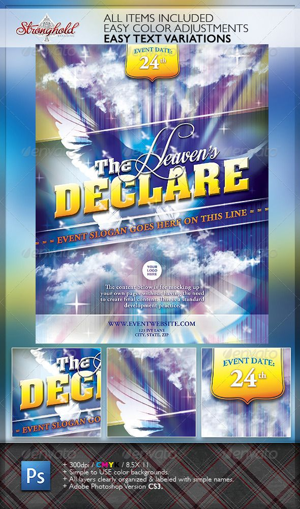 HeavenS Declare Church Flyer Template  Flyer Template Churches