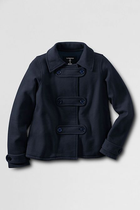 School Uniform Fleece Pea Coat Cardigan from Lands' End