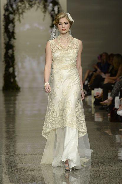 Robyn Cliffe Wedding dress. Golden lace over silk satin dress.