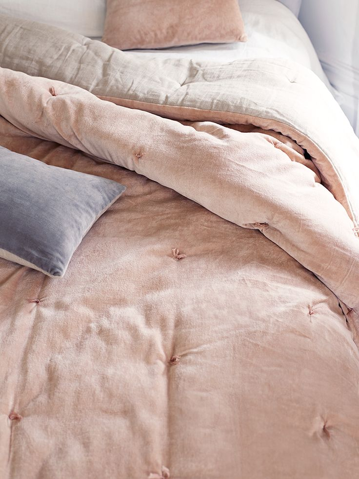 NEW Velvet & Linen Kingsize Quilt - Blush - Bedroom Accessories - Bed & Bath - Indoor Living