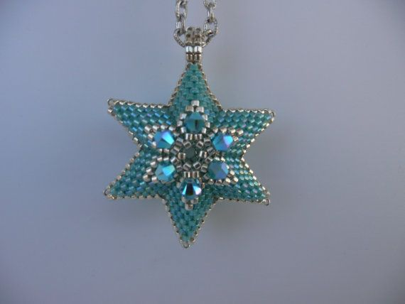 Silver and Turquoise Beadwoven Star Pendant by AutumnStormBeadwork