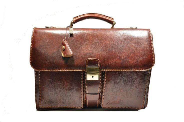 First choice calfskin briefcase with strap made in Italy.