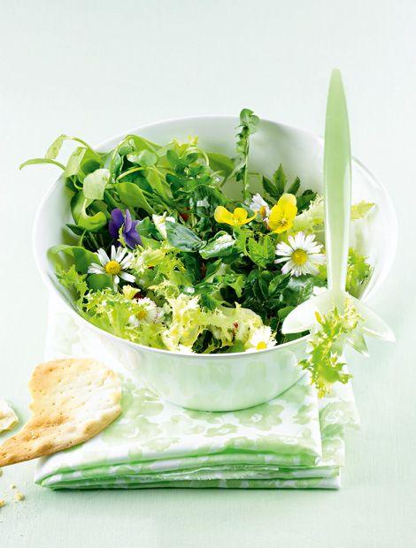 Wildkräutersalat       Zutaten für 4 Personen: ca 600 g gem. Wildkräuter (z.B. 200 g Brunnenkresse, je 100 g Portulak, Löwenzahn, Sauerampfer un