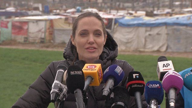 Angelina Jolie advocates for Syrian refugees at Lebanon migrant camp.