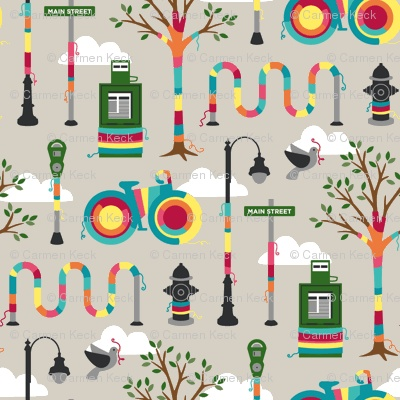 LOVE this yarnbombing fabric from Spoonflower
