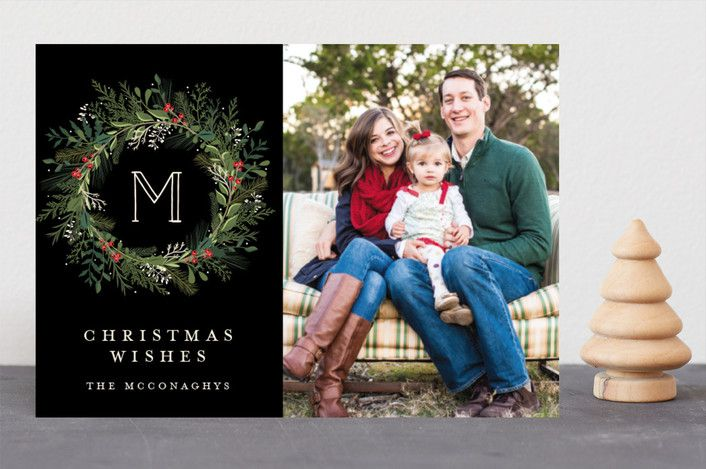 """Greenery Wreath"" - Holiday Photo Cards in Night by Susan Moyal."