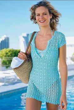 Blue Azure Short Sleeve Top Coverup free crochet graph pattern