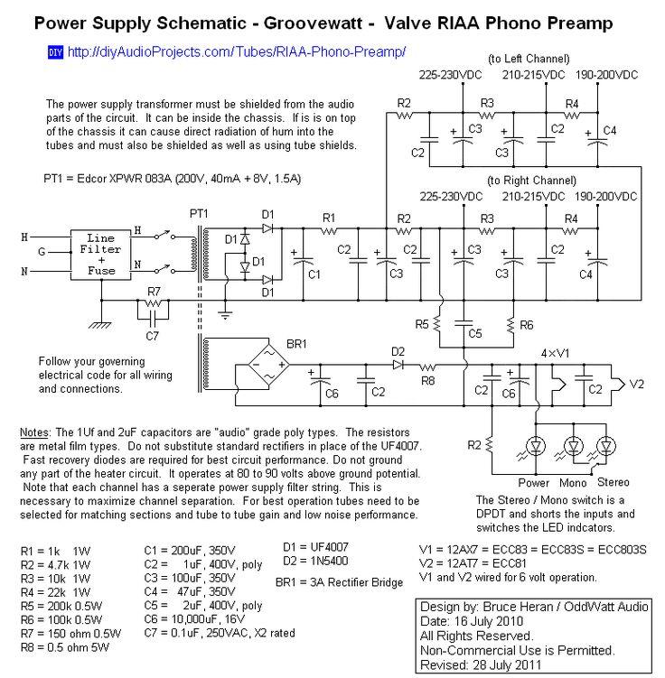 Power Supply Schematic - Groovewatt Tube (Valve) RIAA Phono Preamp
