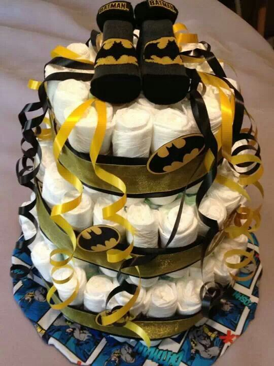 Batman diaper cake for baby shower