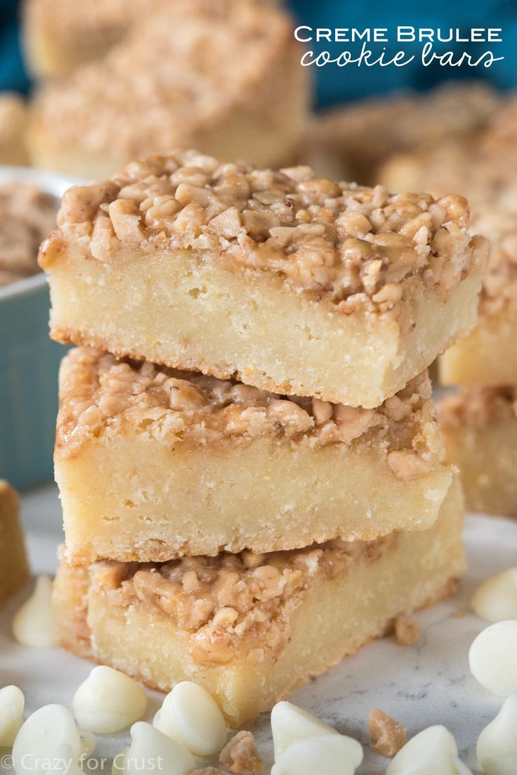 This Creme Brulee Cookie Bars recipe is an easy bar cookie filled with rich vanilla creme brulee flavor, soft and chewy with a crunchy sweet top!