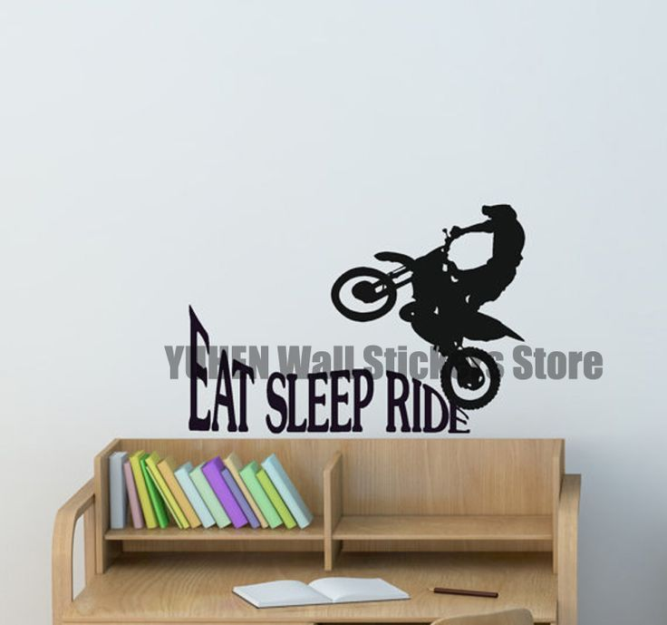 Dirtbike Sport Decal Boys Bedroom Sticker Girls Room Quote Decor Wall Words Decal Motocross Motorcycle Wall Decal