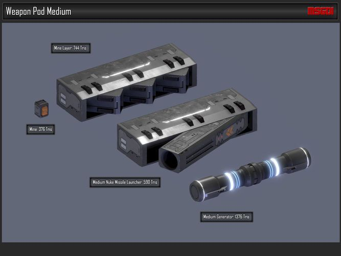 scifi modular spaceship weapons 3d model low-poly obj fbx 4